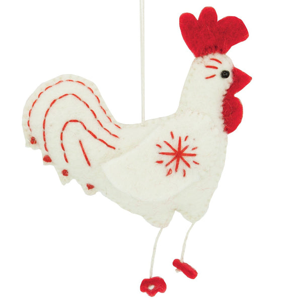 White Felt Rooster Ornament - Wild Woolies (H)