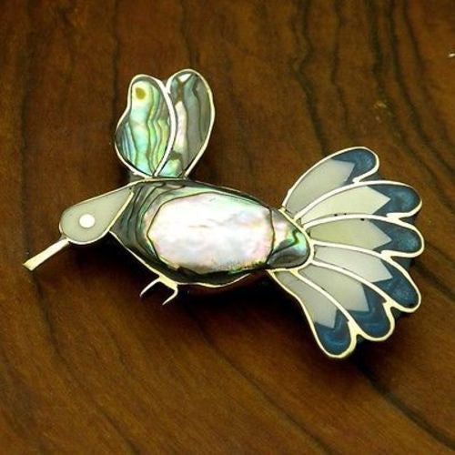 Alpaca Silver Abalone and Mother of Pearl Hummingbird Pin Handmade and Fair Trade