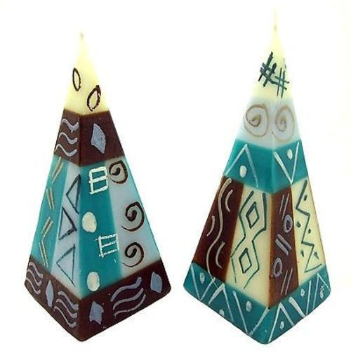 Set of Two Hand-Painted Pyramid Candles - Maji Design Handmade and Fair Trade