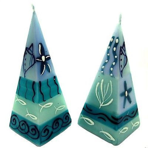 Set of Two Hand-Painted Pyramid Candles - Samaki Design Handmade and Fair Trade
