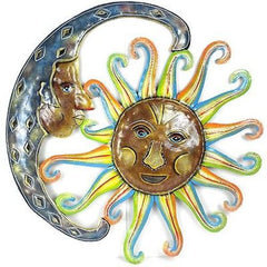 24-Inch Painted Blue Moon and Sun Metal Wall Art - Croix des Bouquets