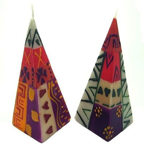 Set of Two Hand-Painted Pyramid Candles - Indaeuko Design Handmade and Fair Trade