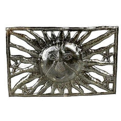 9-Inch Rectangle Sun and Starfish Metal Art Handmade and Fair Trade