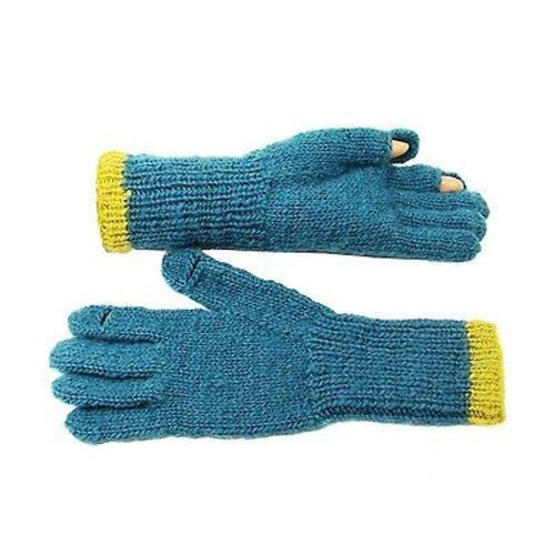 Tegan Texting Wool Gloves in Teal/Mustard Handmade and Fair Trade