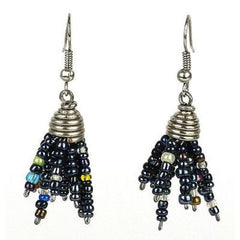 Black Maasai Beaded Spike Earrings Handmade and Fair Trade