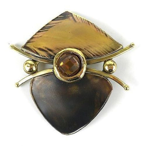 Brass Shield Brooch with Crystal Handmade and Fair Trade