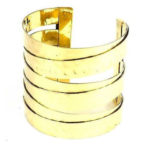 Banded Goldtone Hammered Cuff Handmade and Fair Trade