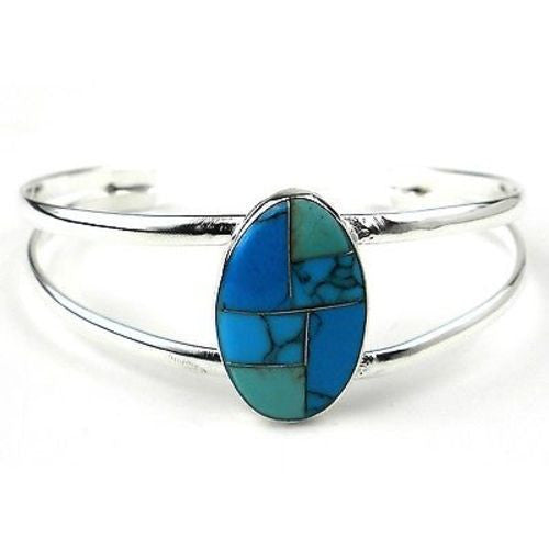 Turquoise Stone Mosaic Bracelet Handmade and Fair Trade