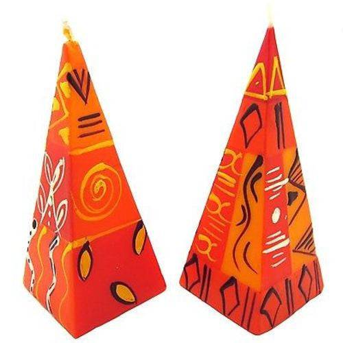 Set of Two Hand-Painted Pyramid Candles - Zahabu Design Handmade and Fair Trade