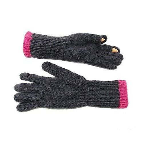 Tegan Texting Wool Gloves in Charcoal/Hot Pink Handmade and Fair Trade