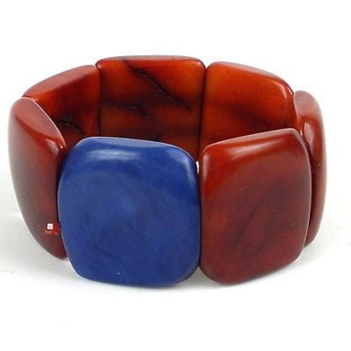 Accented Tagua Bracelet Sunset Orange Handmade and Fair Trade