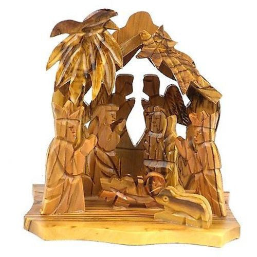 Two Angels Olive Wood Nativity Handmade and Fair Trade