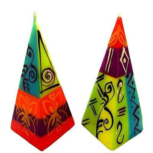 Set of Two Hand-Painted Pyramid Candles - Matuko Design Handmade and Fair Trade