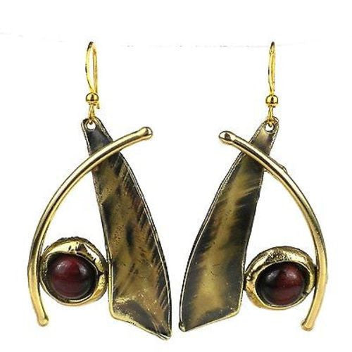 Blade And Red Tiger Eye Brass Earrings Handmade and Fair Trade