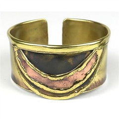 Brass and Copper Slice Cuff Handmade and Fair Trade