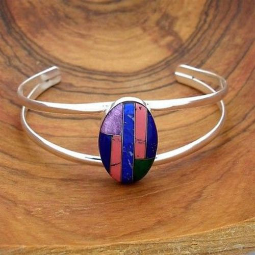 Alpaca Silver Oval Stone Mosaic Bracelet Handmade and Fair Trade