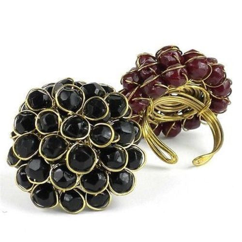 Black Chrysanthemum Ring Handmade and Fair Trade