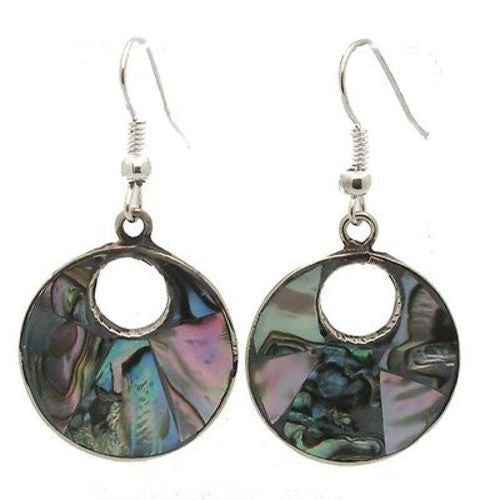 Alpaca Silver Open Abalone Drop Earrings Handmade and Fair Trade