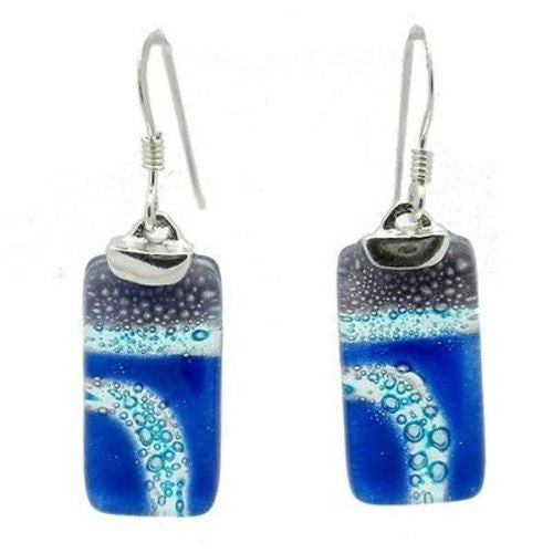 Blue Highway Glass Rectangle Earrings with Sterling Silver Handmade and Fair Trade