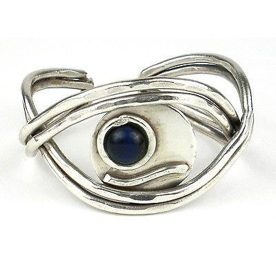 Blue Tiger Eye Worldy Silverplated Cuff - Brass Images - Fair Trade -
