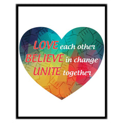 Love, Believe, Unite Framed Canvas