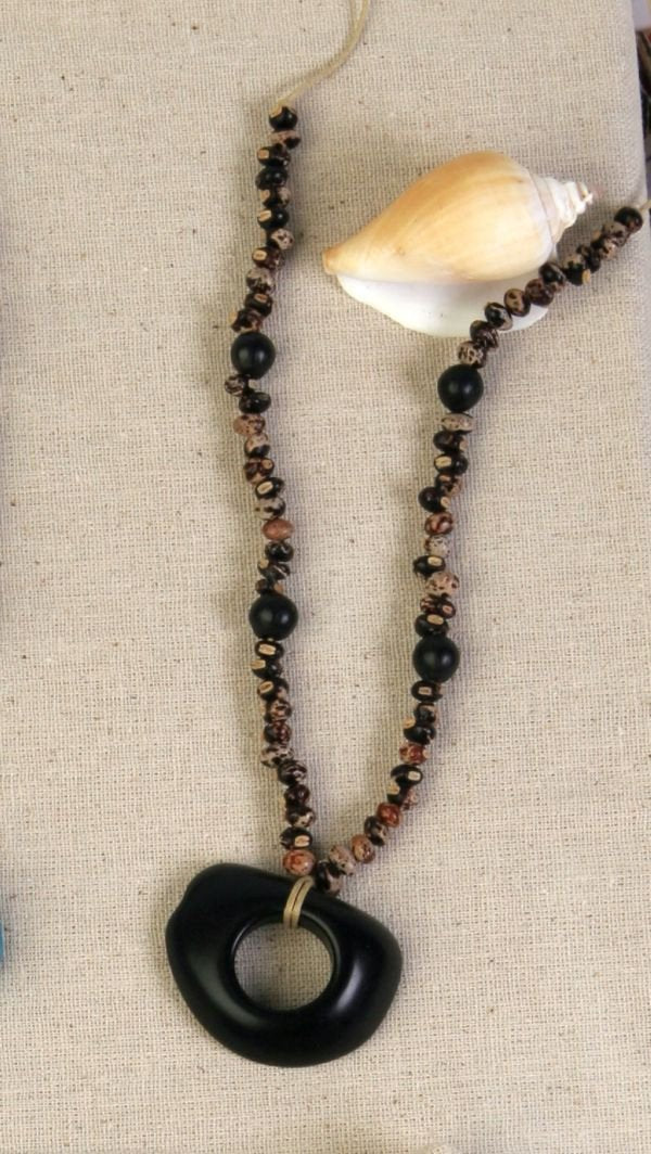 Black Tagua Seed Necklace - Natural Artist