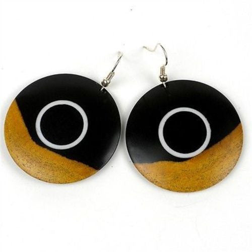 Two Tone Blackwood Inlaid Earrings Handmade and Fair Trade