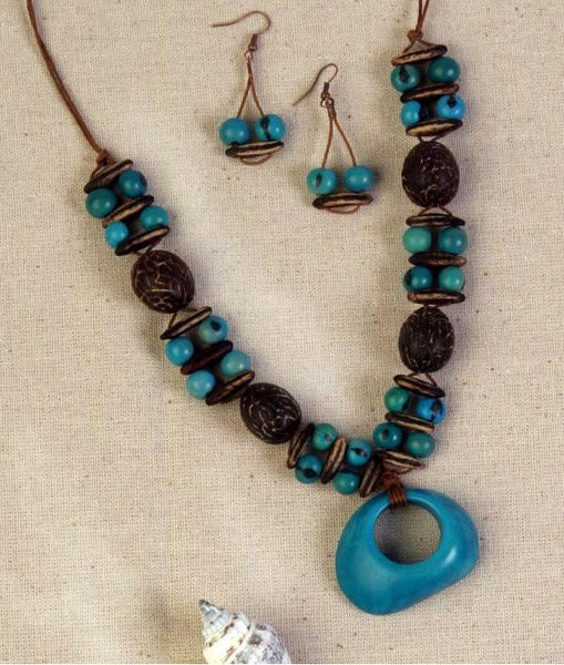 Turquoise Tagua Seed Necklace - Natural Artist