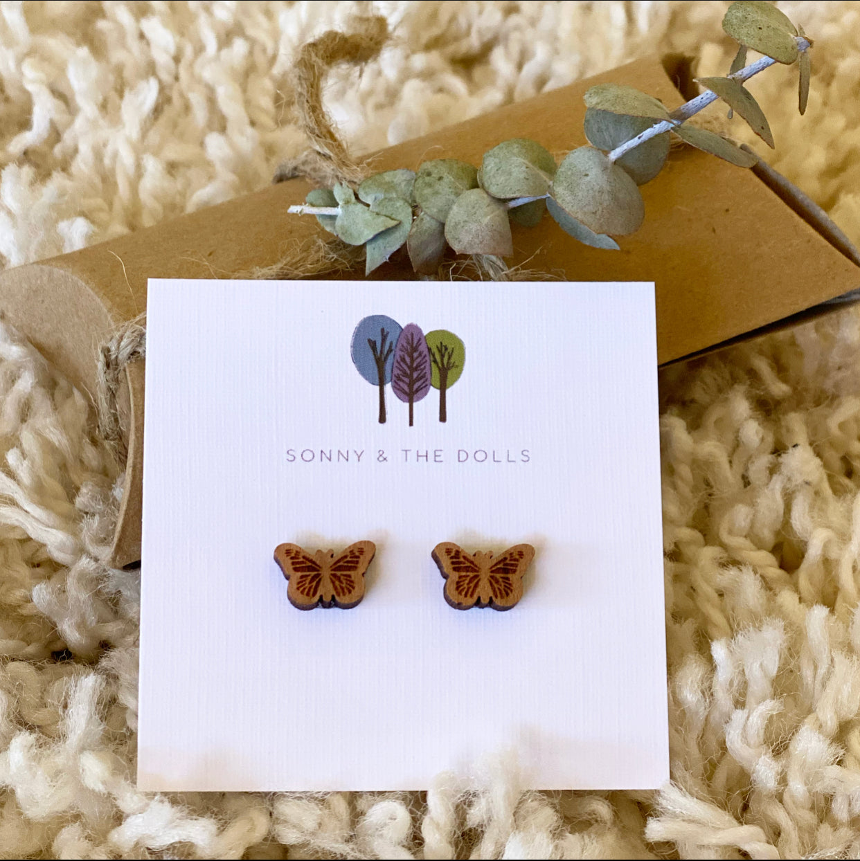 Wooden Studs - Butterflies (small)