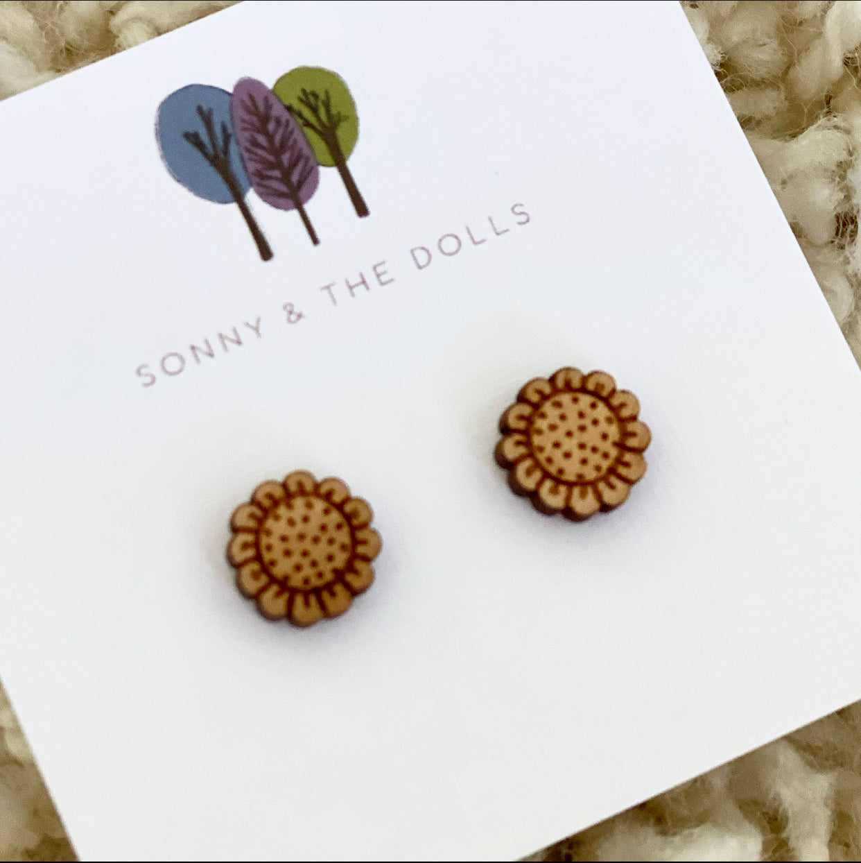 Wooden Studs - Sunflowers