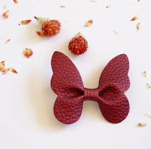 Leatherette Butterfly Clip - Assorted Colours