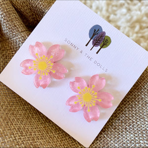 Happy Flower Studs - Dark Pink