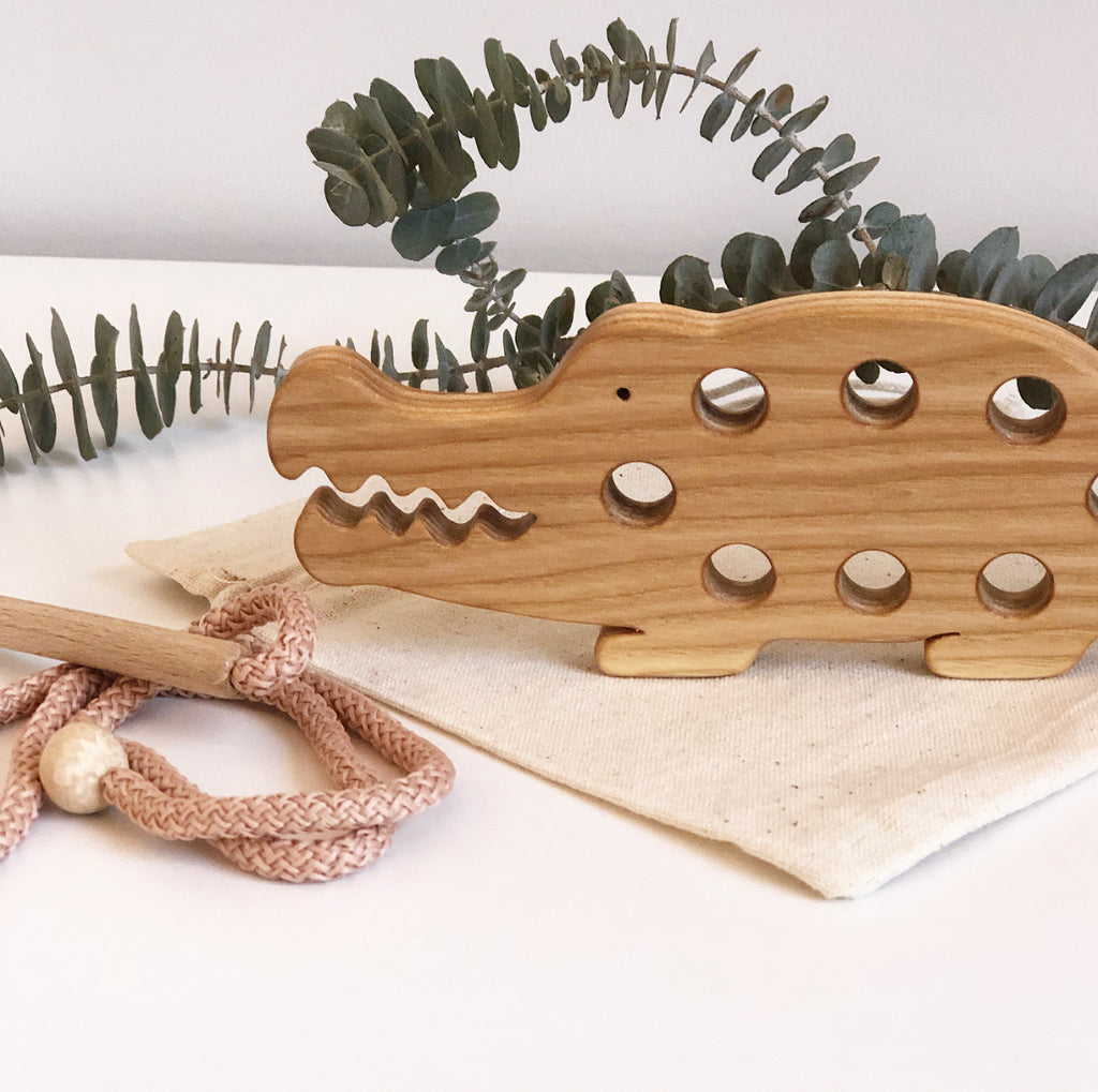 Wooden Lacing Toy - Crocodile