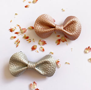 Leatherette Bow Clip - Assorted Colours