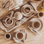 Wooden Tea Set - Raw or Dipped in Colour