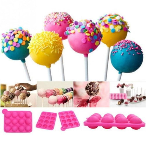 Silicone Cake Pop & Lollipop Mold ~ Baking Mold Combo with 12 Mold Spaces & Openings for Sticks - BOUTIQUE CHIC