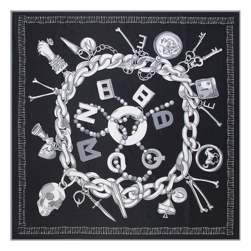 Luxury Brand Large Silk Twill Square Scarf ~ Trendy Chain Skull Print, Spanish Foulard Style - BOUTIQUE CHIC
