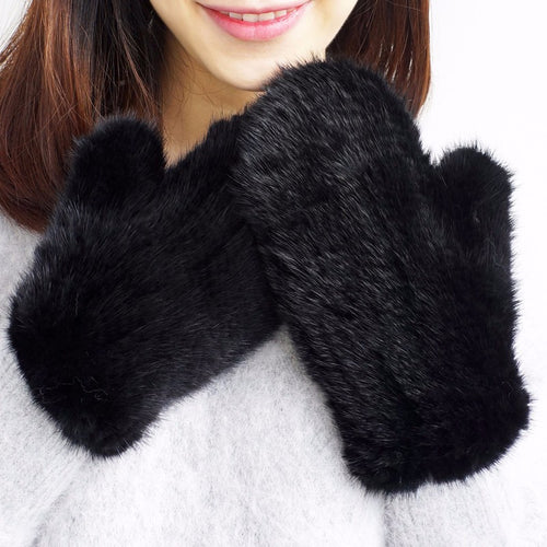 Luxury Designer Genuine Leather & Mink Knitted Mittens with Mink Trimmed Keeper Strap for Neck - BOUTIQUE CHIC