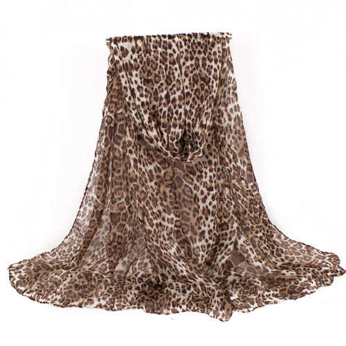 Designer Fashion Classic Voile Shawl with Allover Leopard Pattern ~ Oversized Scarf - BOUTIQUE CHIC