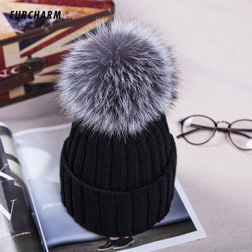 Casual Knitted Acrylic Beanie Hat with 12cm Silver Fox Fur or 15cm Raccoon Fur Pompom - BOUTIQUE CHIC