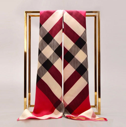 Luxury Designer Smooth Thin Soft Silk Twill Pashmina Scarf with Classic Plaid Pattern - BOUTIQUE CHIC