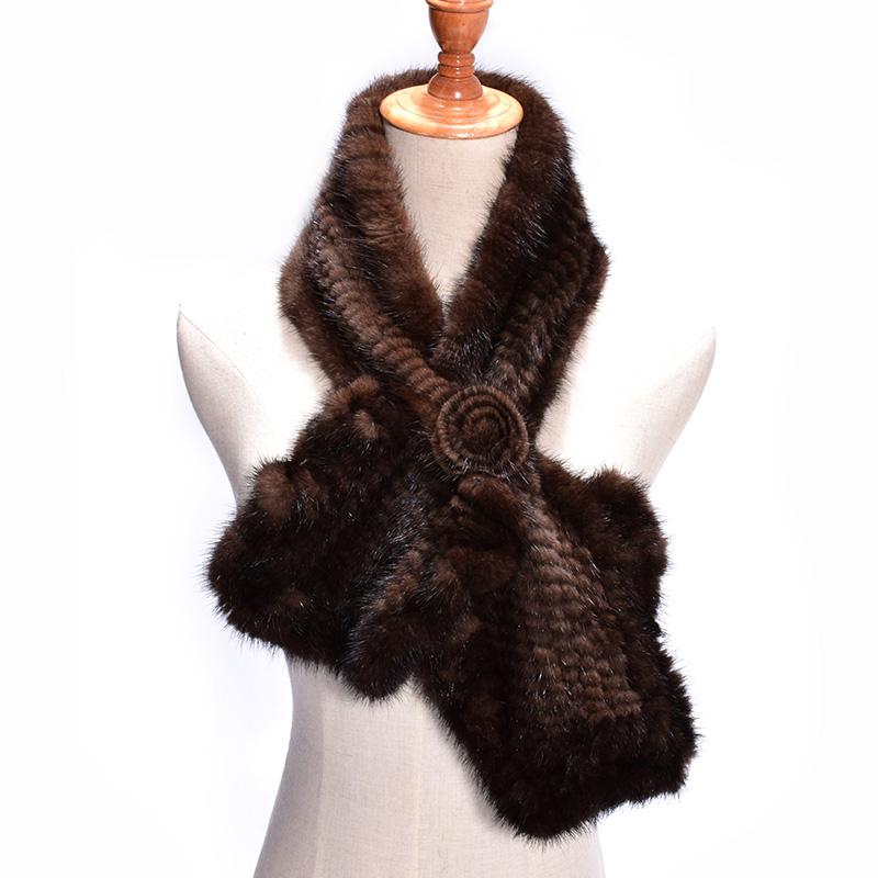 Luxurious & Elegant Knitted Genuine Russian Mink Fur Scarf with Mink