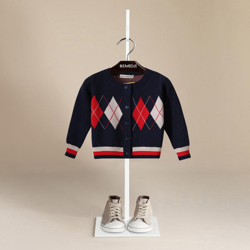 Luxury Designer Knitted Argyle Pattern Boys Cardigan Sweater ~ Boys 12 Months to 6T - BOUTIQUE CHIC