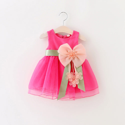 Big Bowknot Infant Baby Toddler Party Dress ~ Perfect for Birthday & Other Celebrations - BOUTIQUE CHIC