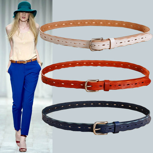 Designer Vintage Eyelet Pattern Thin Styled Belt in Genuine Leather with Metal Pin Buckle - BOUTIQUE CHIC