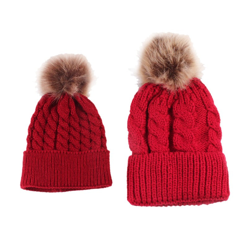 Lovely Fun Mother-Baby Knit Hat Set with Fur Pompoms - BOUTIQUE CHIC ... 0b961990093e