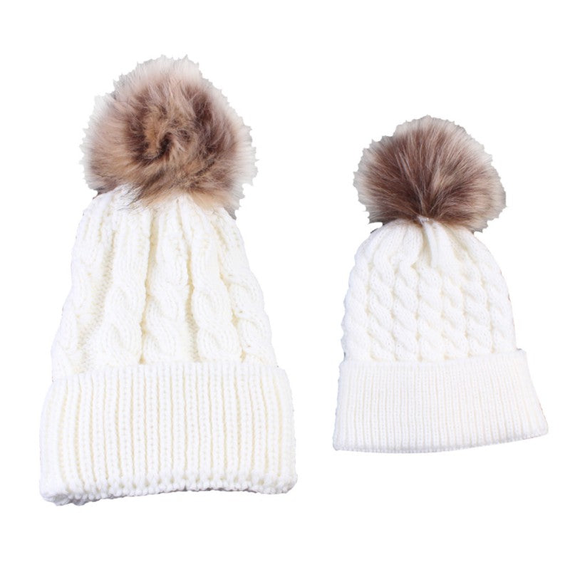 ... Lovely Fun Mother-Baby Knit Hat Set with Fur Pompoms - BOUTIQUE CHIC ... 6f81d26448ae