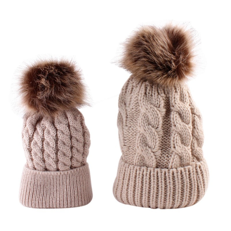 ... Lovely Fun Mother-Baby Knit Hat Set with Fur Pompoms - BOUTIQUE CHIC ... 970b607fbad