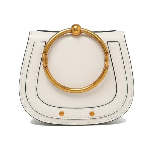 Ancient Saddle Bag Design in Genuine Plain Grain Leather with Goldtone Metal Ring for Handle - BOUTIQUE CHIC