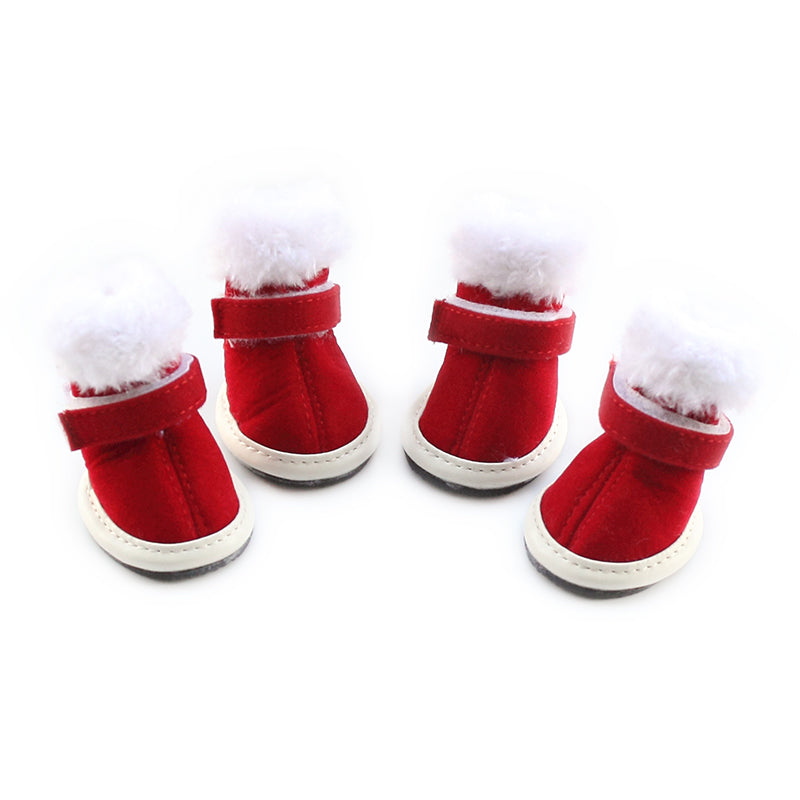 Christmas Rubber Soled Non-Slip Skid-Proof Pet Boots ~ Red with Fur Trim - BOUTIQUE CHIC